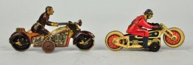 Lot Of 2: Foreign Made Tin Litho Motorcycle Toys.