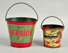 Lot Of 2: Early Beach Themed Sand Pails.