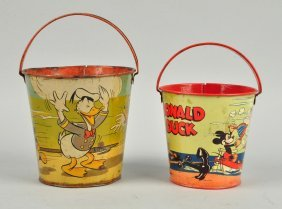 Lot Of 2: Walt Disney Themed Tin Litho Sand Pails.