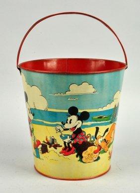 Walt Disney Tin Litho Mickey Mouse Sand Pail.