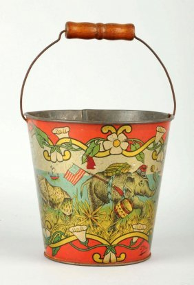 Early Tin Litho Animal Themed Sand Pail.