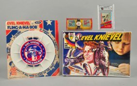 Lot Of 4: Vintage Evel Knievel Items.
