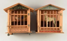 Lot Of 2: Farm Animals In Cages.