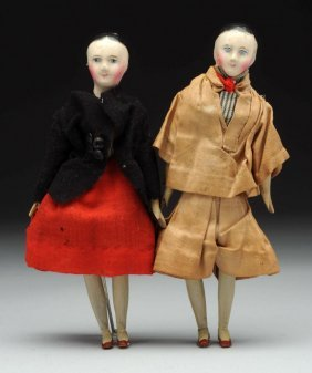 Pr French Papier Mache Doll House Twins