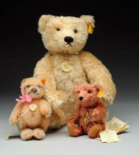 Three Mohair Steiff Teddy Bears With All Ids.