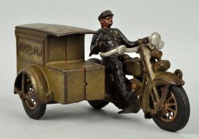 Cast Iron Us Parcel Post Motorcycle W/ Driver.