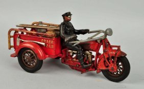 Cast Iron Large Crash Car With Driver.
