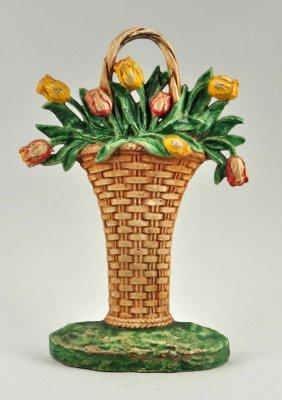 Cast Iron Tulip Basket Doorstop.