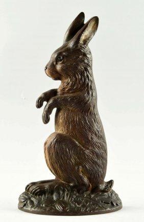 Cast Iron Begging Rabbit Doorstop.