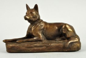 Cast Iron Lying Down German Shepherd Dog Doorstop.