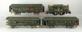 Lot Of 4: Lionel 380 Locomotive & Passenger Cars.