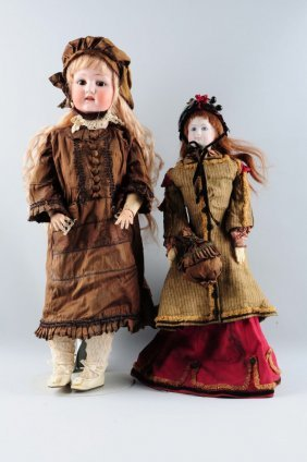 Lot Of 2: Bisque Head Dolls.