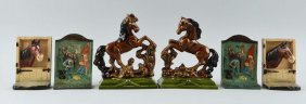 Cast Iron Assorted Horse Bookends.