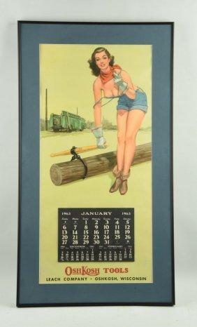Oshkosh Tools Pin Up Girl Advertising Calendar.