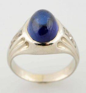Synthetic Sapphire, Diamond Ring