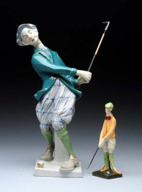 "Two Amphora Ceramic Caricature ""swinging Golfer""."