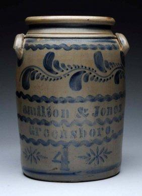 4 Gallon Hamilton & Jones Stoneware Jar.