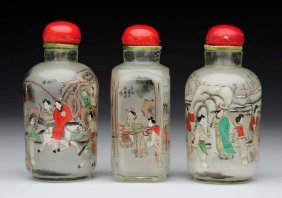 Lot Of 3: Glass Antique Snuff Bottles.