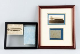 Lot Of 2: Framed Pieces From Graf Zeppelin Disaster.