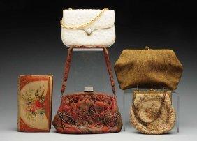 Lot Of 5: Ladies Beaded & Tapestry Handbags.