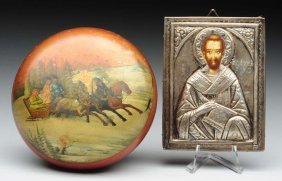 Lot Of 2: Icon And Russian Box.