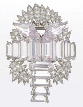 A Kunzite And Diamond Brooch.