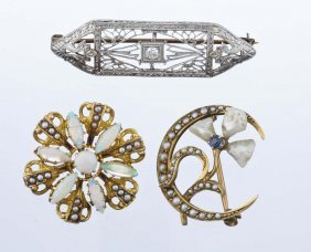 A Group Of Three Seed Pearl And Gemstone Brooches.