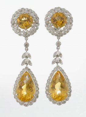 A Pair Of Citrine And Diamond Drop Earrings.