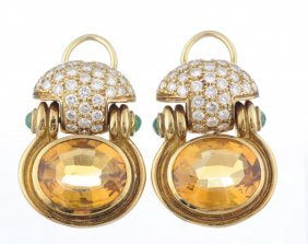 A Pair Of Citrine, Emerald And Diamond Earrings.