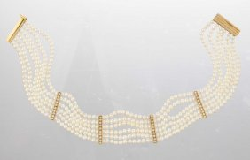 A Multi Strand Pearl Choker Necklace.