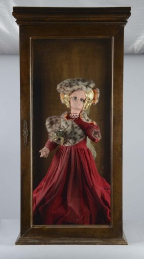 Huge Wood Doll Display Case With Automaton Doll