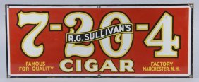 R.g. Sullivan's 7-20-4 Cigars Porcelain Sign