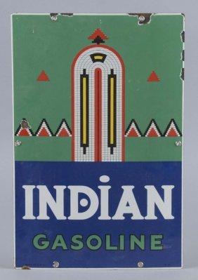 Indian Gasoline With Logo Porcelain Sign