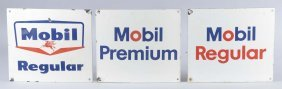 Lot Of 3: Mobil Pump Plate Signs