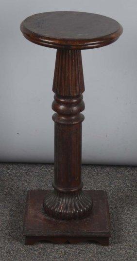 Round Top Wood Pedestal Stand