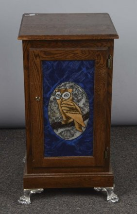 Owl Front Wood Slot Machine Stand