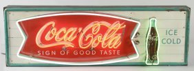Large Coca Cola Neon Fishtail Advertising Sign