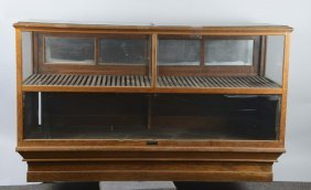 Large Two Section Wood & Glass Floor Display Case