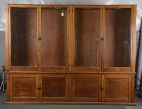 Three Piece Oak & Glass Country Store Cabinet