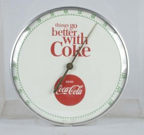 Coca Cola Round Advertising Wall Thermometer