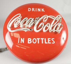 Coca Cola Button Neon Porcelain Sign