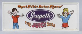 """Grapette """"the Juicy Soda"""" Embossed Tin Sign"""