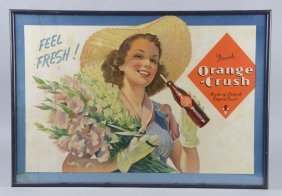 Drink Orange Crush With Lady Cardboard Sign