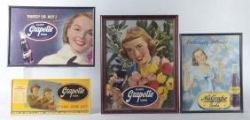 Lot Of 4: Grapette Cardboard Signs In Frames