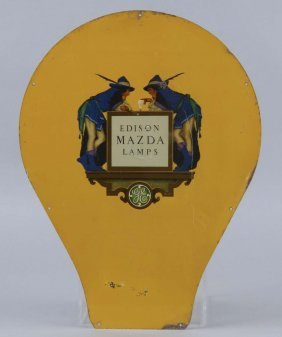 Edison Mazda Lamps Die Cut Tin Sign