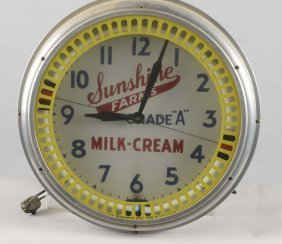 Sunshine Farms Milk-cream Neon Spinner Clock