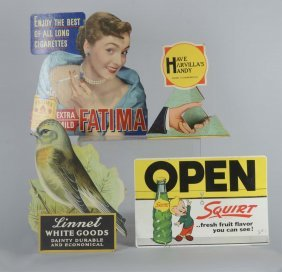 Lot Of 4: Cardboard Advertising Store Display Sign