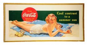 1941 Coca - Cola Large Bathing Girl Poster.