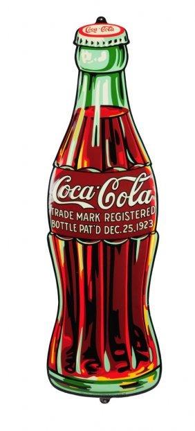 Beautiful 1932 Coca - Cola Embossed Tin Bottle.