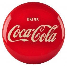 1956 Coca - Cola Tin Button Sign.